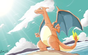 Картинка дракон, динозавр, Покемон, Pokemon, Чаризард