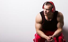 Картинка поза, наушники, muscle, мышцы, атлет, бодибилдер, biceps, bodybuilder, Bodybuilder, Бицепс