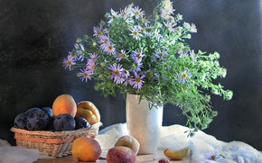 Картинка цветы, букет, ваза, миска, натюрморт, абрикос, слива, Still Life
