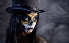 Обои девушка, фон, портрет, шляпа, макияж, брюнетка, прическа, Halloween, Хеллоуин, боке, грим