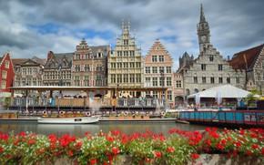 Картинка цветы, дома, канал, Бельгия, Гент, Graslei