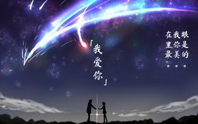 Картинка девушка, закат, вечер, кометы, парень, силуэты, Твоё Имя, Kimi No Na Wa
