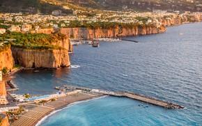 Картинка море, скалы, порт, Италия, Сорренто