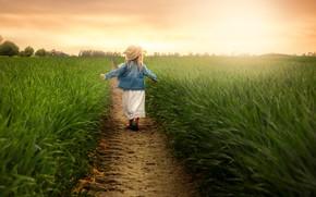 Картинка зелень, поле, лето, небо, трава, свет, природа, поза, настроение, поляна, спина, мило, весна, шляпа, руки, …