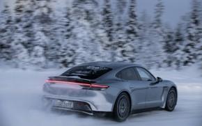 Картинка снег, серый, скорость, Porsche, спойлер, 2020, Taycan, Taycan 4S