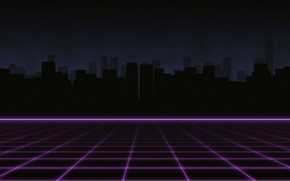 Картинка Музыка, Город, Силуэт, Фон, 80s, Neon, 80's, Synth, Retrowave, Synthwave, New Retro Wave, Futuresynth, Синтвейв, ...