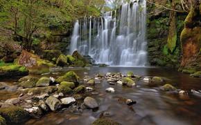 Картинка вода, камни, водопад