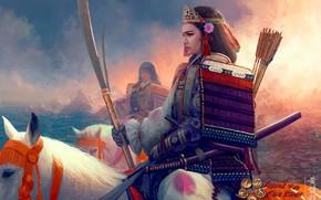 Обои катана, доспехи, корона, всадница, самурай, Mario Wibisono, стрелы, art, пика, берег моря, белая лошадь, наплечники, ...