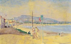 Картинка пейзаж, картина, На Пляже, Люсьен Адрион, Lucien Adrion