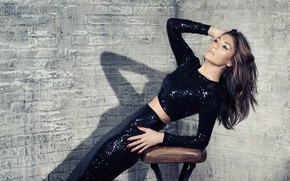 Картинка взгляд, девушка, поза, юбка, тень, Nicole Scherzinger