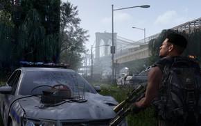 Картинка роса, оружие, утро, солдат, руины, бронежилет, Tom Clancy's The Division 2