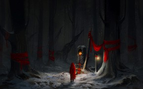 Картинка Красный, Зима, Деревья, Снег, Лес, Art, Concept Art, Персонаж, Environments, by Astrid Lian Aa, The …