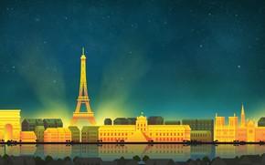 Картинка Париж, Небо, Минимализм, Ночь, Город, Paris, Art, Digital, Illustration, Game Art, by Caio Perez, Caio …