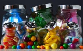 Картинка яркие, еда, конфеты, банки, натюрморт, кондитерские изделия, разные, десерт, драже, мармелад, композиция