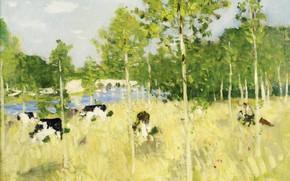 Картинка пейзаж, картина, Коровы на Лугу, Пьер Эжен Монтезин, Pierre-Eugene Montezin