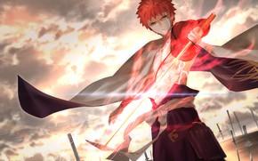 Картинка закат, парень, Saber, Fate / Grand Order, Судьба великая кампания, Sengo Muramasa