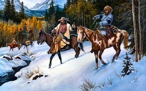 Картинка зима, лес, снег, деревья, горы, природа, ручей, люди, берег, шапка, рисунок, кони, картина, шляпа, склон, …