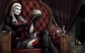 Картинка девушка, череп, бутылка, кресло, демон, трон