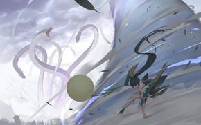Картинка девушка, оружие, монстр, аниме, арт