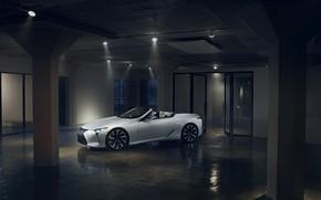 Картинка белый, Lexus, кабриолет, помещение, 2019, LC Convertible Concept