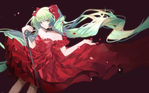 Картинка Девушка, красное платье, Hatsune Miku, Vocaloid, Вокалоид, Хатсуне Мику, qie (25832912)