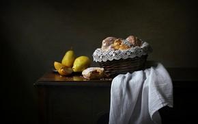 Картинка стиль, ретро, темный фон, стол, еда, полотенце, желтые, хлеб, ткань, фрукты, натюрморт, корзинка, груши, комод, …