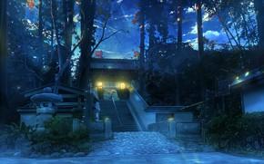 Картинка деревья, храм, раннее утро