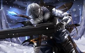 Картинка зима, доспехи, шлем, рыцарь