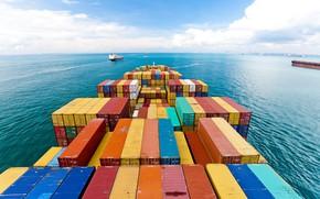 Картинка Океан, Море, Судно, Контейнеровоз, Контейнера, Грузовое судно