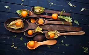 Картинка стол, фрукты, овощи, ложки, Физалис