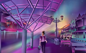 Картинка city, girl, alone, cyberpunk, painting, digital art, illustration, backgroud, dawn of darkness, violet colors, neon …