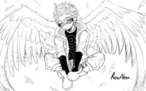 Картинка крылья, ангел, арт, парень, чёрно - белое, My Hero Academia, Boku No Hero Academia, Моя …