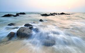 Картинка песок, море, волны, пляж, лето, небо, закат, камни, берег, summer, beach, sea, sunset, seascape, sand, …