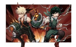 Картинка парни, герои, My Hero Academia, Boku No Hero Academia, Мидория Изуку, Моя Геройская Академия, Бакуго …