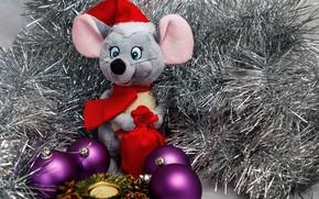 Картинка шары, игрушка, мышка, Рождество, Новый год, мишура