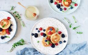 Картинка ягоды, малина, завтрак, черника, мед, ежевика, сырники