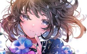 Картинка цветок, глаза, взгляд, девушка, лицо, волосы, слёзы, вьюнок, ちぎり紅◕