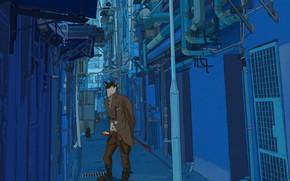 Картинка Город, Кот, Стиль, Здания, City, Car, Fantasy, Архитектура, Art, Style, Фантастика, Переулок, Cyber, Cyberpunk, Line …