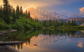 Картинка горы, озеро, рассвет, утро