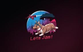 Картинка Минимализм, Фон, Арт, Welsh Corgi, by Vincenttrinidad, Vincenttrinidad, Let's Jam, by Vincent Trinidad, Vincent Trinidad, …