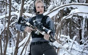 Обои Девушка, Зимний Лес, Снайперская винтовка Лобаева, ДВЛ-10 «Урбана»
