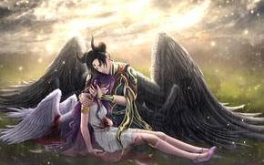 Картинка девушка, дождь, кровь, ангел, демон, парень, слёзы, драма, сатана, Lilith, Lucifer, Obey Me! Shall we …