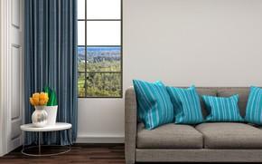 Картинка цветы, дизайн, диван, интерьер, подушки, окно, голубые, ваза, столик