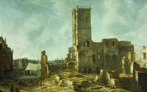 Картинка масло, картина, холст, Ян Авраам Беерстратен, Jan Abrahamsz Beerstraten, 1666, Развалины старой ратуши в Амстердаме …