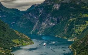 Картинка Норвегия, лайнер, фьорд