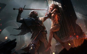Картинка dark, fire, sword, blood, fantasy, armor, weapon, Warrior, red eyes, artwork, fantasy art, witch, sparks, …