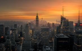 Картинка свет, город, вечер, утро, США, Нью - Йорк