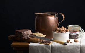 Картинка шоколад, печенье, нож, кувшин, натюрморт, фундук