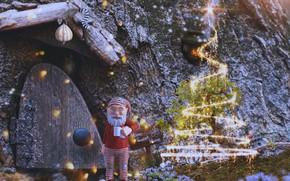 Картинка зима, свет, снег, огни, сияние, камни, рендеринг, фантазия, скалы, праздник, волшебство, табличка, звезда, дверь, Рождество, …