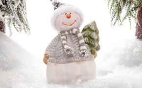 Картинка зима, снег, ветки, праздник, шапка, игрушка, Рождество, сугробы, белый фон, Новый год, снеговик, ёлочка, шарфик, …